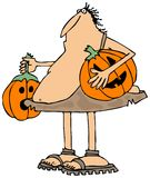 Caveman carrying jack-o-lanterns Royalty Free Stock Image