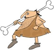 Caveman carrying a large bone Royalty Free Stock Photography