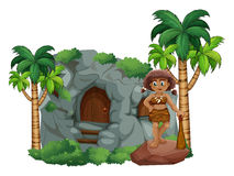 Caveman and cave Royalty Free Stock Photography