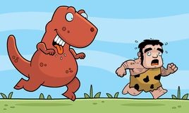 Caveman Chased. A cartoon caveman chased by a dinosaur Stock Photography