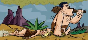 Caveman che trascina la sua donna dai suoi capelli Fotografia Stock Libera da Diritti