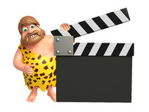 Caveman with Clapper board. 3d rendered illustration of Caveman with Clapper board Royalty Free Stock Photography