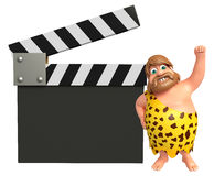 Caveman with Clapper board. 3d rendered illustration of Caveman with Clapper board Stock Images