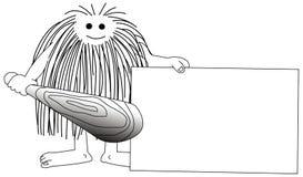 Caveman com caixa ilustração royalty free