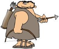 Caveman com curva e seta ilustração stock