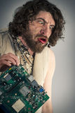 Caveman Confused Technology Royalty Free Stock Photo