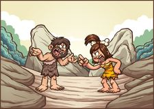 Caveman couple. Cartoon caveman couple arguing. Vector clip art illustration with simple gradients. Some elements on separate layers Royalty Free Stock Images