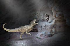 Caveman, Dinosaur, T Rex, Prehistoric Times royalty free stock photo