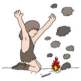 Caveman Discovers Fire Stock Images
