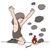 Caveman Discovers Fire stock illustration