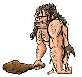 Caveman dos desenhos animados com clube de madeira ilustração stock