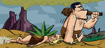Caveman dragging his woman by her hair Royalty Free Stock Photo