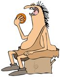 Caveman eating an orange stock illustration