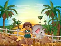 Caveman and elephant. Illustration of a caveman and an elephant Royalty Free Stock Photos