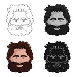 Caveman face icon in cartoon style isolated on white background. Stone age symbol stock vector illustration. Stock Photos