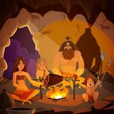 Caveman Family Cartoon Illustration. Cartoon poster with caveman family dressed in animal pelt cooking meat on campfire in cave vector illustration Stock Photo