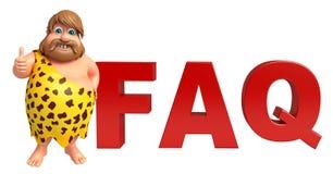 Caveman with FAQ sign Stock Photo