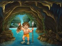 Caveman and  fish Stock Photography