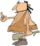 Caveman flipping the bird Stock Image