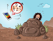 Caveman get scared seeing a gadget Stock Photos