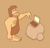 Caveman getting in touch with technology Stock Photography