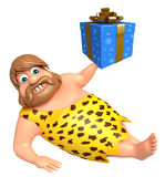 Caveman with Giftbox. 3d rendered illustration of Caveman with Giftbox Royalty Free Stock Photo