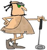 Caveman golfer. This illustration depicts a caveman leaning on his golf club and wearing a visor Royalty Free Stock Photos