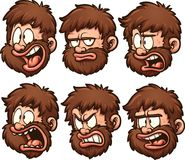 Caveman head with different emotions Stock Image