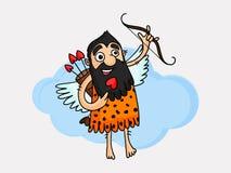 Caveman with heart shape arrow. Stock Image