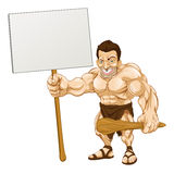 Caveman holding sign cartoon Stock Photography