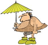 Caveman holding an umbrella Royalty Free Stock Photo