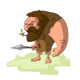 Caveman hunter with a weapon Stock Photography