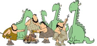 Caveman hunters Stock Image