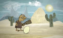 Caveman i jajko Obrazy Stock