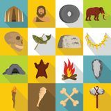 Caveman icons set, flat style. Caveman icons set. Flat illustration of 16 caveman vector icons for web Stock Photo