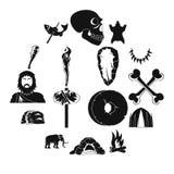 Caveman icons set, simple style. Caveman icons set. Simple illustration of 16 caveman vector icons for web Royalty Free Stock Photo