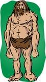 Caveman illustration. Sketch of brutish muscular primitive man Stock Photo