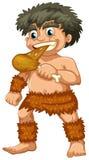Caveman. Illustration of a close up caveman eating Stock Photos