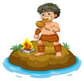 Caveman. Illustration of a caveman eating chicken Stock Photography