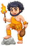 Caveman. Illustration of a caveman with fire Royalty Free Stock Photography