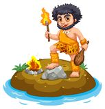 Caveman. Illustration of a caveman and fire Royalty Free Stock Images