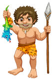 Caveman. Illustration of a caveman with iguana Royalty Free Stock Images