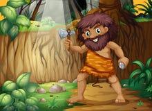 Caveman. Illustration of a caveman in the jungle Stock Photos