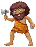 Caveman. Illustration of a single caveman with weapons Royalty Free Stock Image