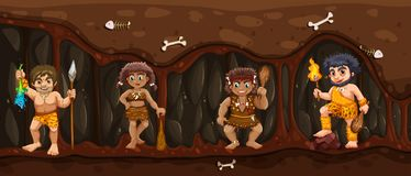Caveman inside the Dark Cave stock illustration