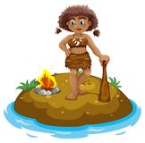 Caveman on island Royalty Free Stock Image