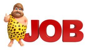 Caveman with Job sign Stock Image