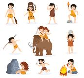 Caveman kids vector primitive children character and prehistoric child with stoned weapon on mammoth illustration set of. Ancient boy or girl in stone age Stock Images