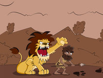 Caveman and lion. Silly caveman hunter with wild lion Stock Image