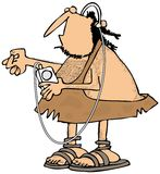 Caveman listening to his MP3 player Royalty Free Stock Image